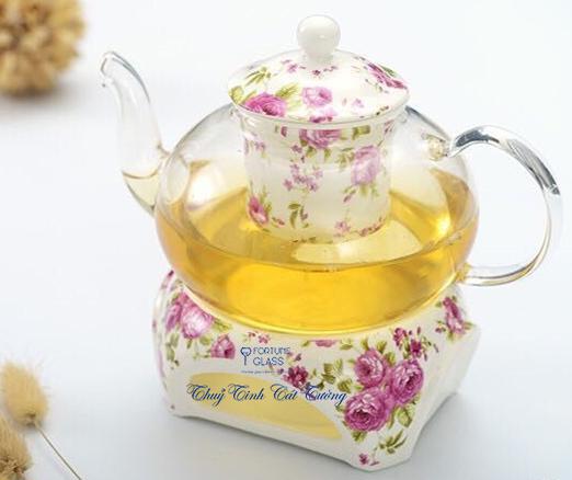 Ấm trà lõi sứ (1 ấm + 1 bếp) - SX Trung Quốc