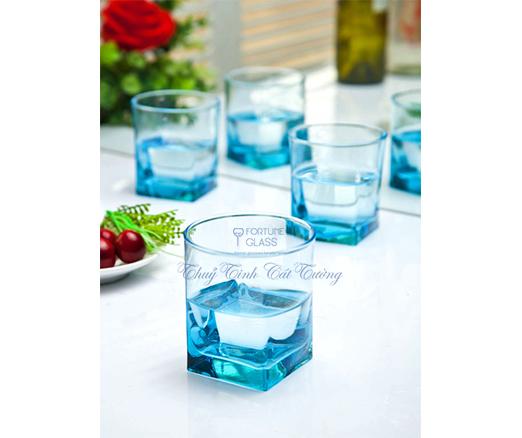Cốc Vuông Lùn Whisky (xanh dương) (Bộ 6c) 310ml - 41290 - SX Thổ Nhĩ Kỳ