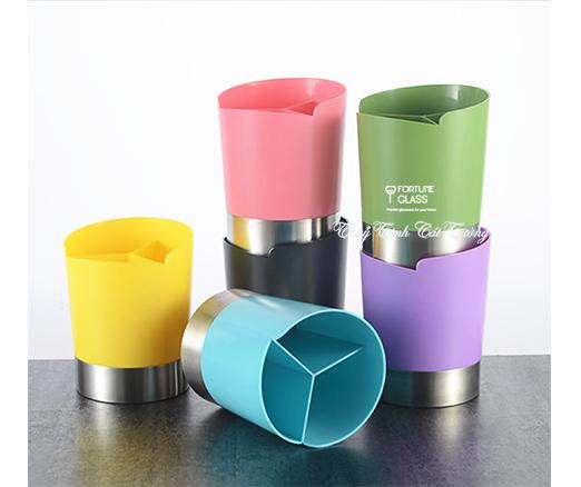 Hộp đựng ống hút 3 ngăn màu