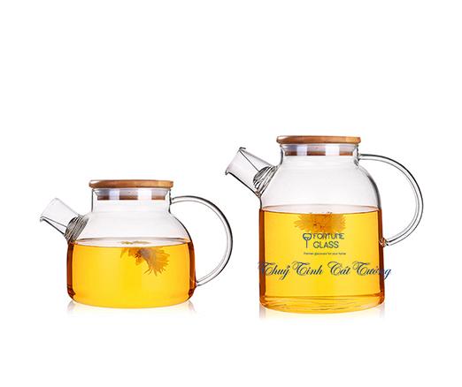 Ấm trà thủy tinh nắp gỗ (800ml) - AG02 - SX Trung Quốc
