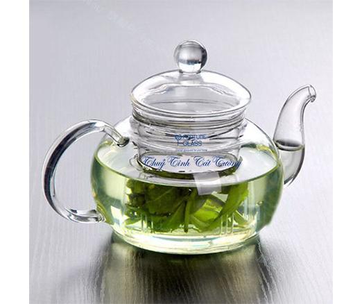 Ấm trà thủy tinh quai tròn 600ml- AT001 - SX Trung Quốc