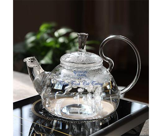 Ấm trà thủy tinh quai vồng 600ml- AV001 - SX Trung Quốc