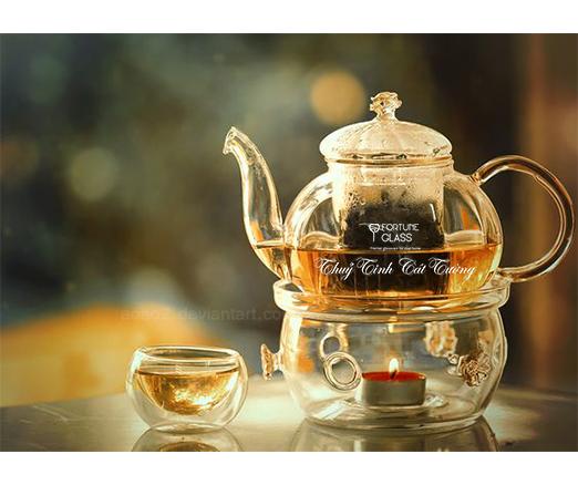 Bộ ấm trà thủy tinh bếp nến 600 ml- ATT2L- SX Trung Quốc